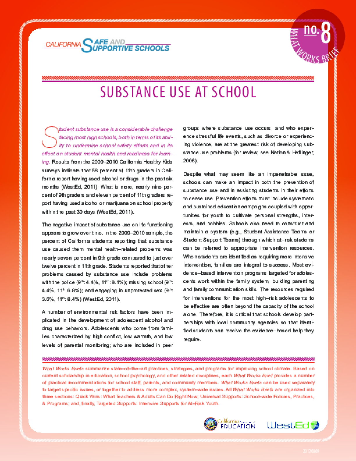 What Works Brief #8: Substance Use at School