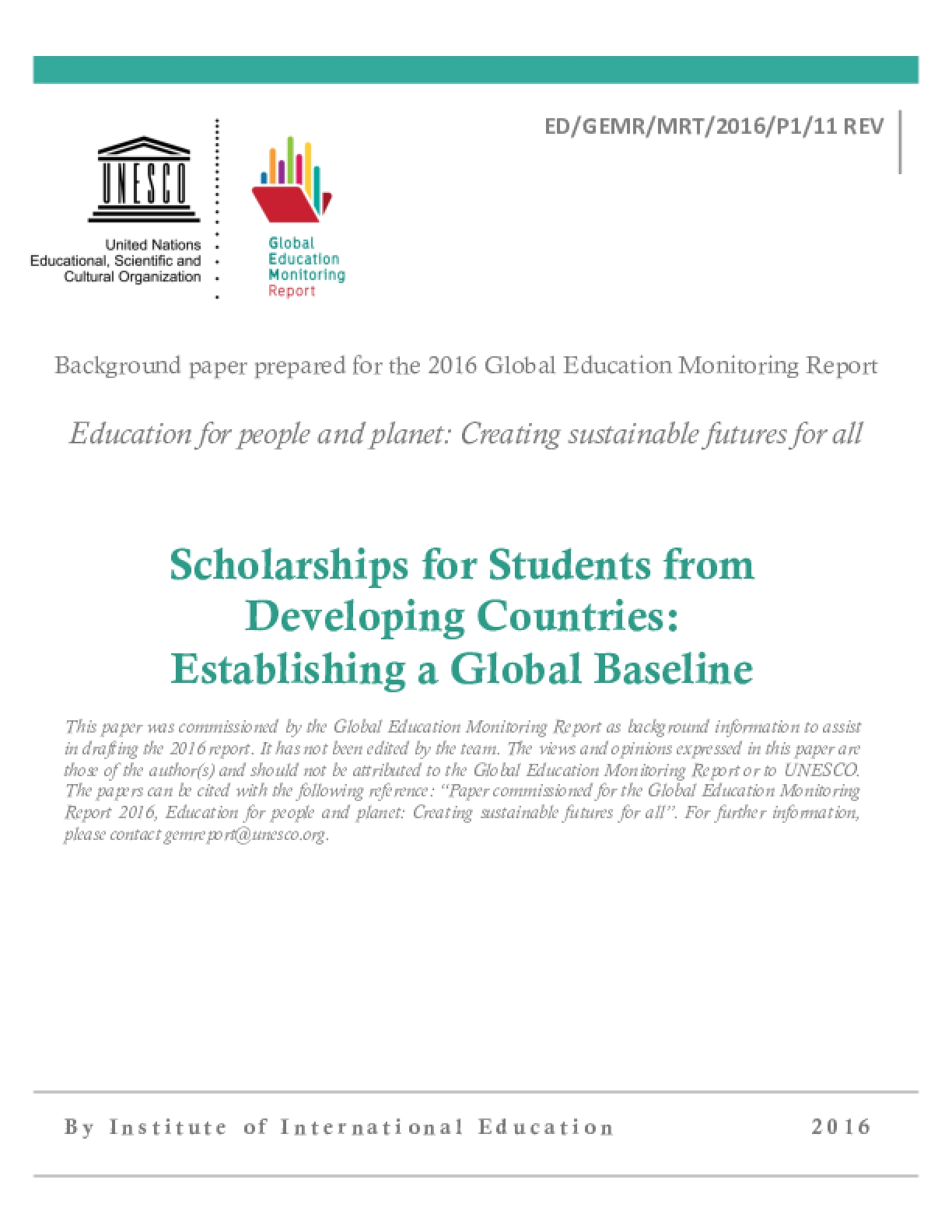 Scholarships for Students from Developing Countries: Establishing a Global Baseline