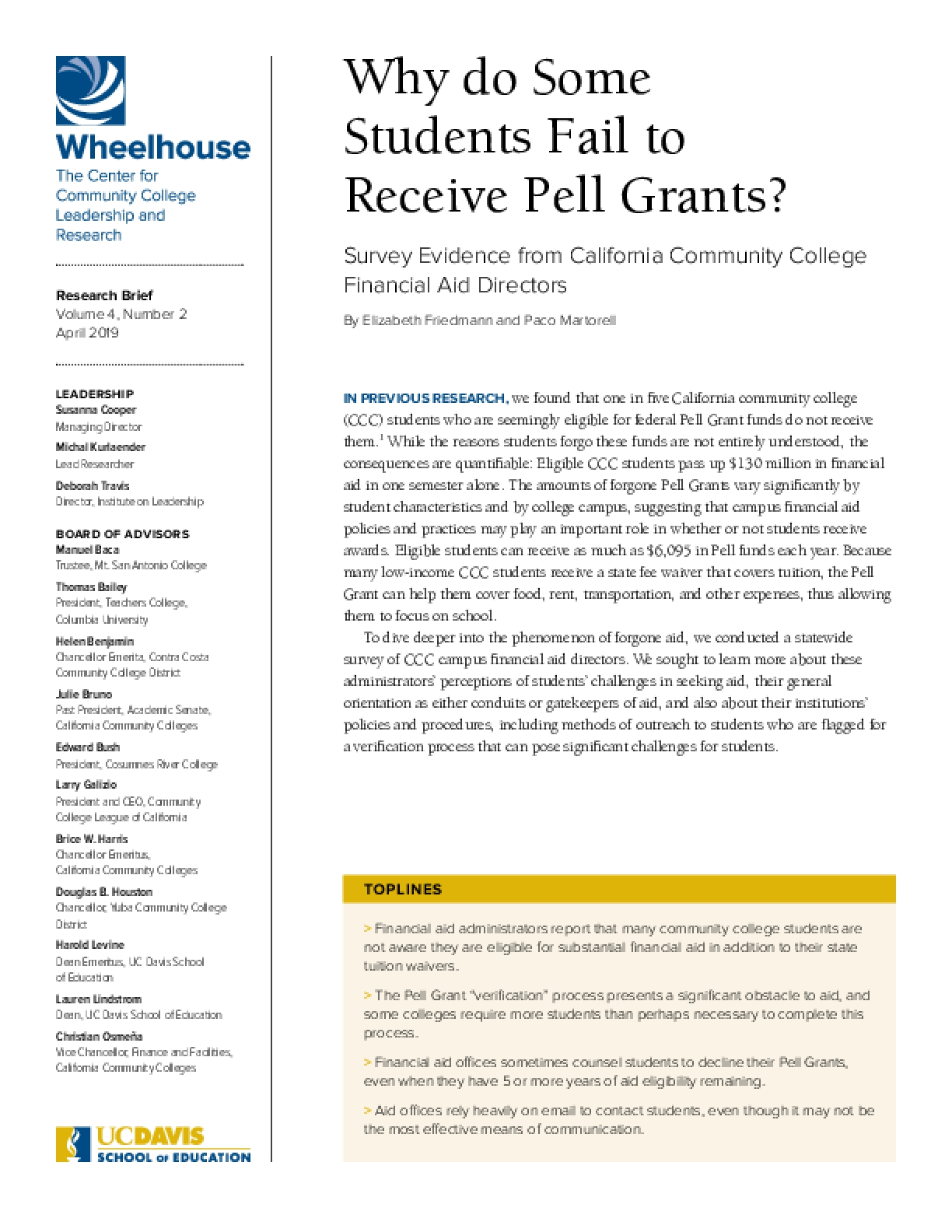 Why Do Some Students Fail to Receive Pell Grants?