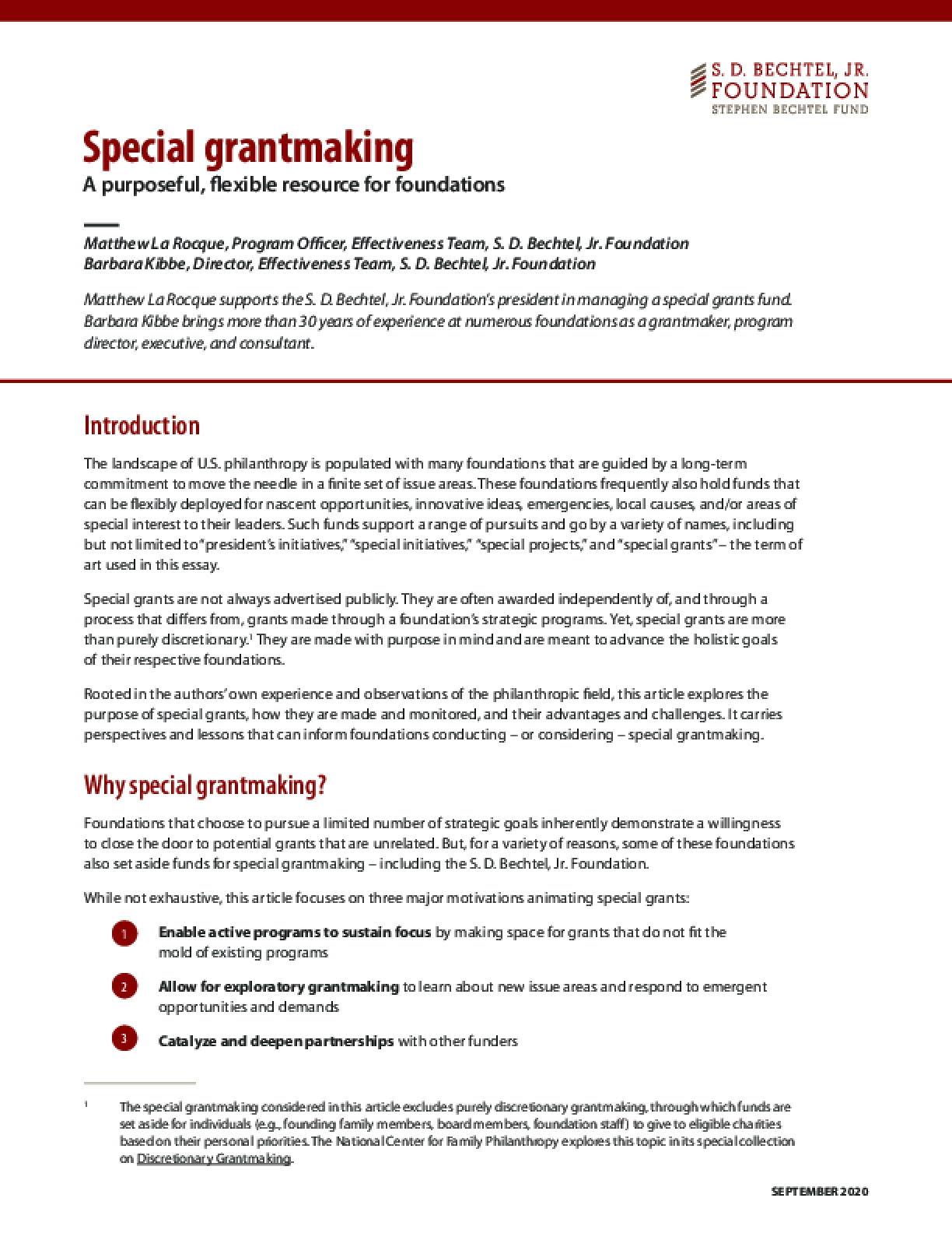 Special grantmaking: A purposeful, flexible resource for foundations