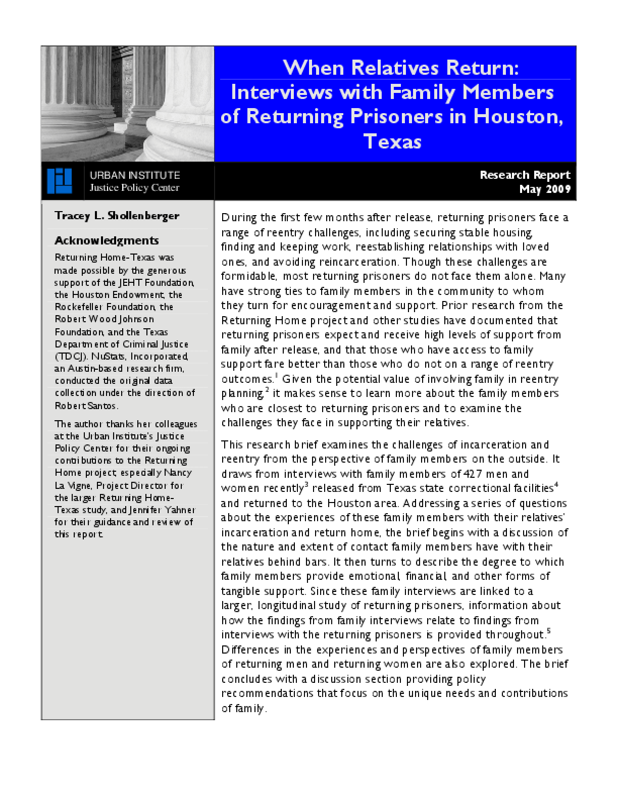 When Relatives Return: Interviews With Family Members of Returning Prisoners in Houston, Texas