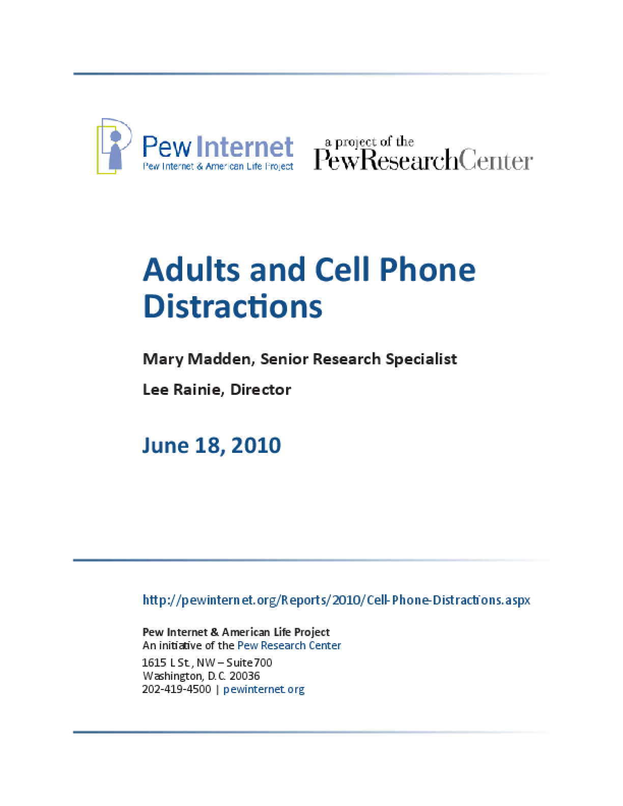 Adults and Cell Phone Distractions