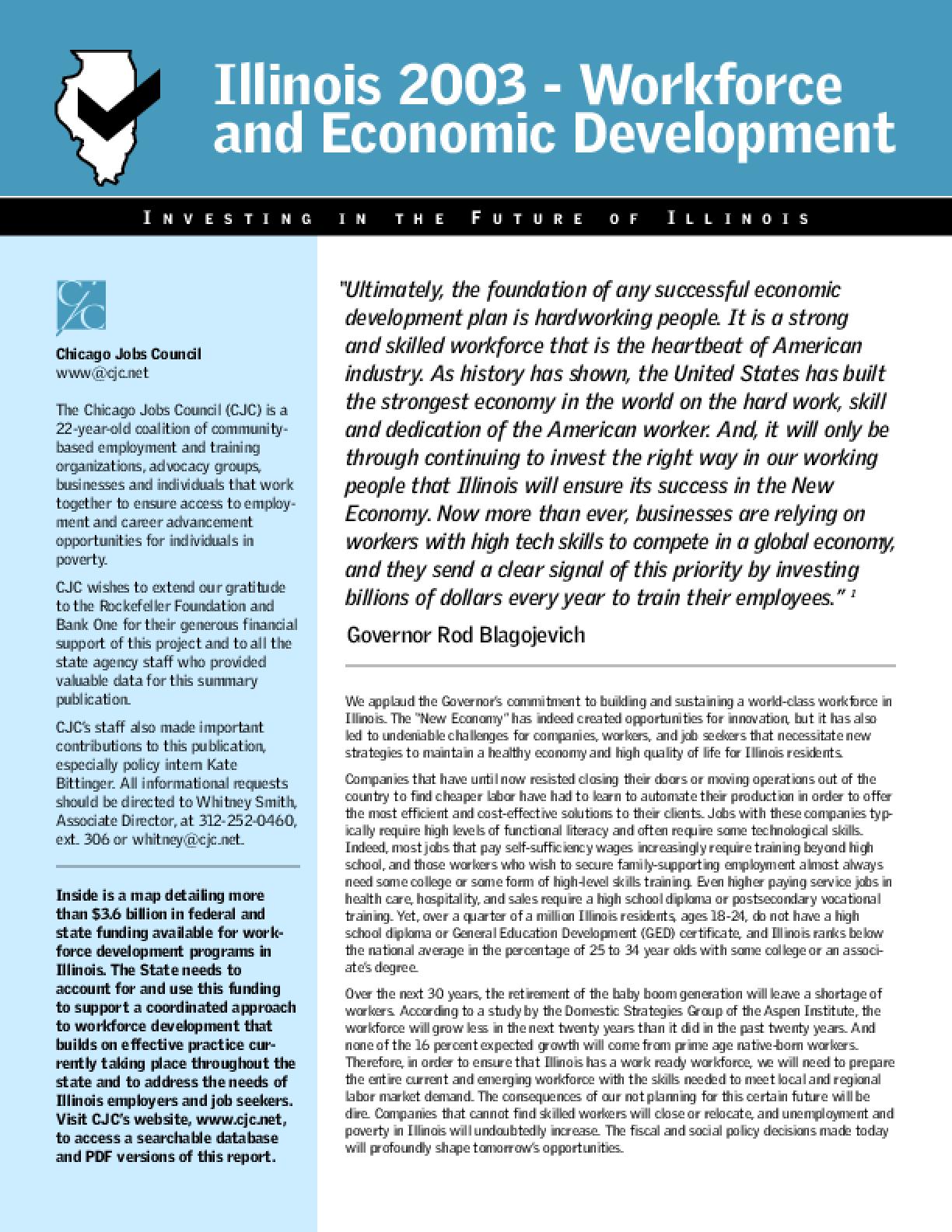 Illinois 2003 - Workforce and Economic Development: Investing in the Future of Illinois