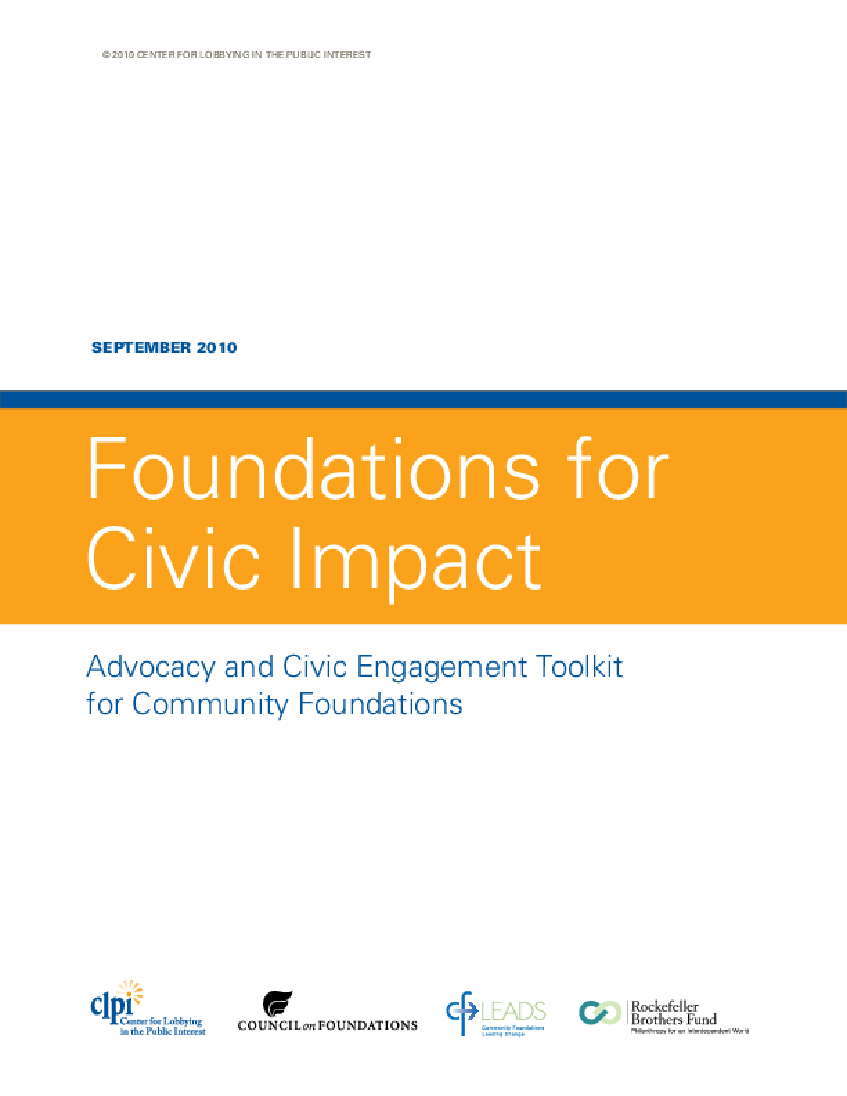 Foundations for Civic Impact: Advocacy and Civic Engagement Toolkit for Community Foundations